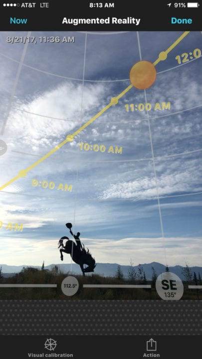 Using the PhotoPills app to plan a shot of the total solar eclipse 2017