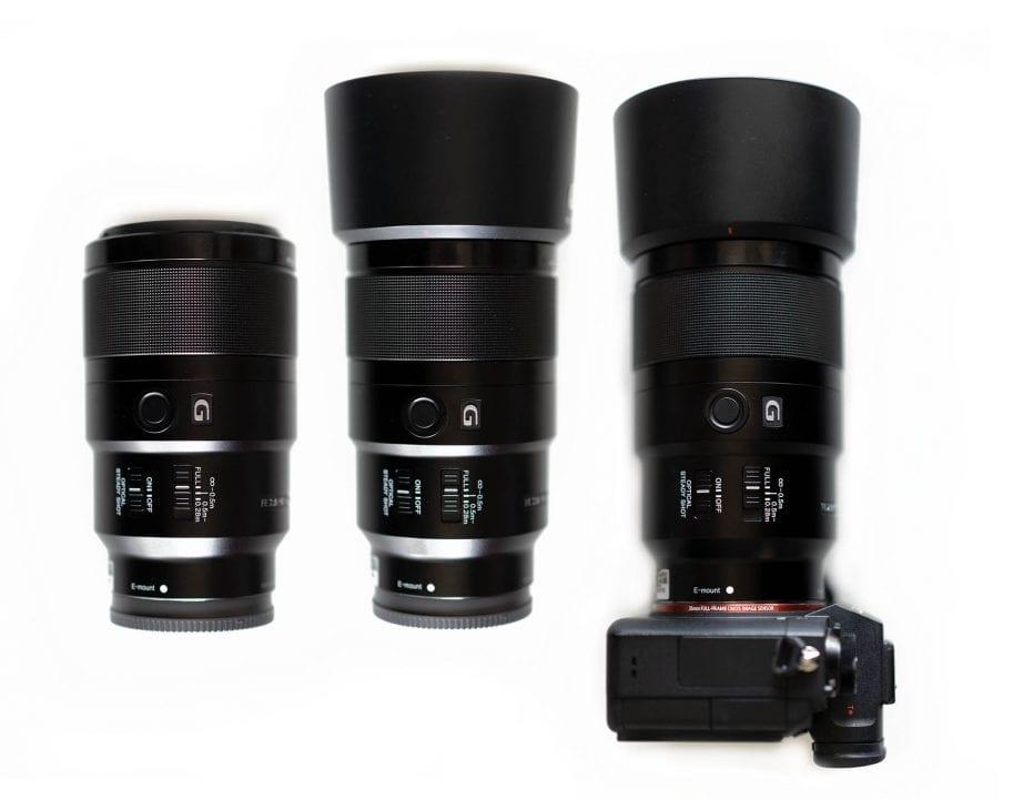 Side by side comparison Sony f/2.8 macro lens size